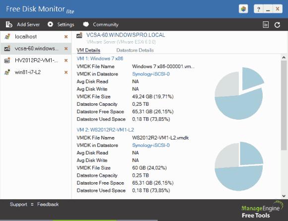 Verbindet man sich mit einem vCenter-Server, dann sieht man Infos zu VMs und Datastores.
