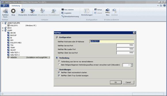 Der Netman Desktop Manager umfasst auch eine Funktion zur Software-Verteilung für den Client.