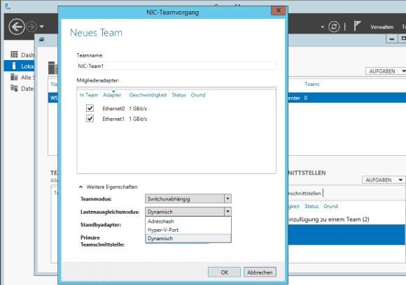 Windows Server 2012 R2 fügt zu den 2 bisherigen Verfahren für Load-Balancing noch 'Dynamisch' hinzu.