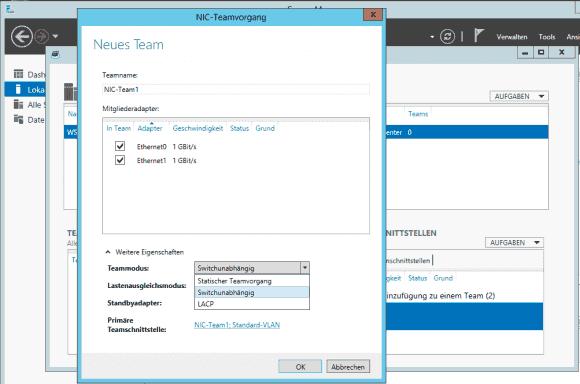 Windows Server 2012 (R2) bietet 2 Switch-abhängige und einen Switch-unabhängigen Modus.