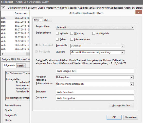 Mit einem entsprechenden Filter kann man die Einträge zum NTFS-Auditing extrahieren.