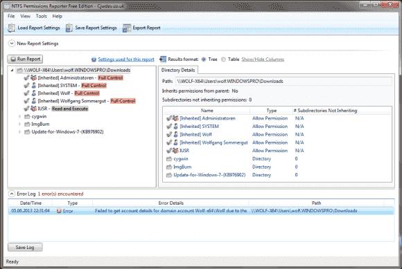Der kostenlose NTFS Permissions Reporter zeigt die Berechtigungen auf Windows-Shares in einer übersichtlichen Form an.