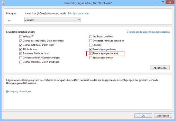 Die Berechtigung, die Zugriffsrechte einer Datei zu ändern, kann man jedem User zuweisen. Besitzer haben es automatisch.