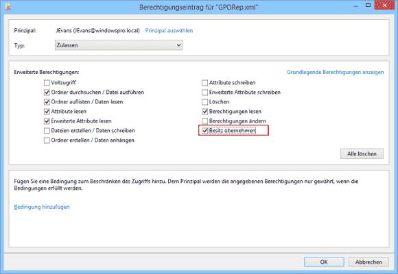 User können den Besitz einer Datei übernehmen, wenn ihnen dafür das nötige Recht erteilt wurde.