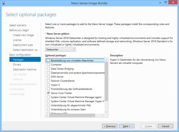 Das Basis-Image enthält keine Binaries für Rollen und Features, sie müssen extra hinzugefügt werden.