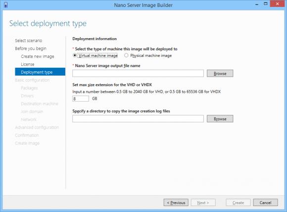 der Image Builder kann Nano Server in einer VHD(X) oder direkt auf der Hardware bereitstellen.
