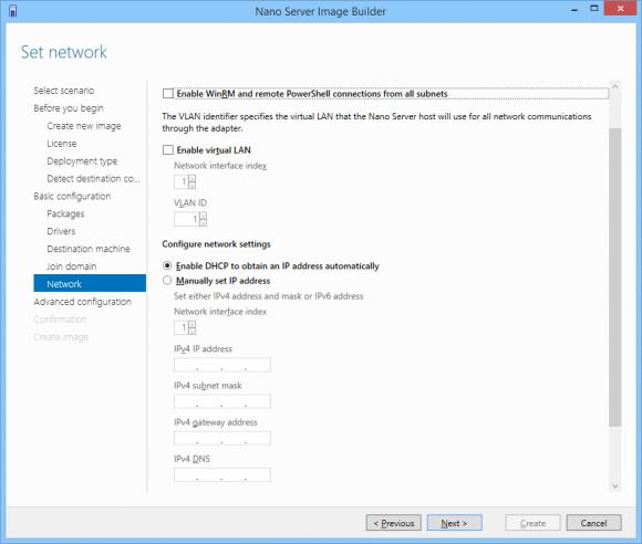 Vorab-Konfiguration der Netzwerkeinstellungen.