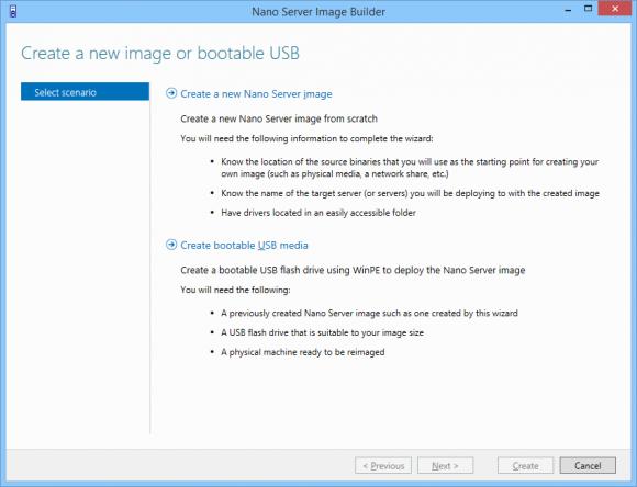 Auswahl zwischen dem Erstellen eines neuen Images oder eines USB-Sticks mit einem vorhandenen Image.