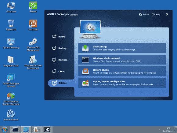 Zu den Tools, die PE Builder zu WinPE hinzufügt, gehört auch eine Backup-Software.