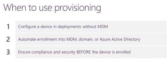 Die wichtigsten Anwendungen von PPKG-Dateien sind Microsoft zufolge MDM, Domain Join und Compliance.