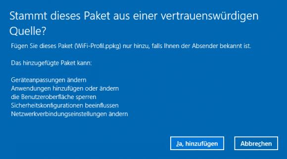 Nachfrage beim Ausführen einer .ppkg-Datei