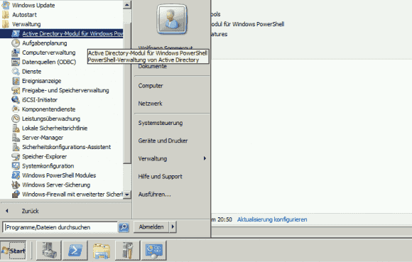 Startet man PowerShell über die spezielle Verknüpfung im Startmenü, dann wird das AD-Modul gleich geladen.