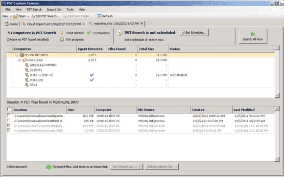 Über die PST Capture Console lassen sich entdeckte PST-Dateien den passenden Exchange-Mailboxen zuordnen und importieren.