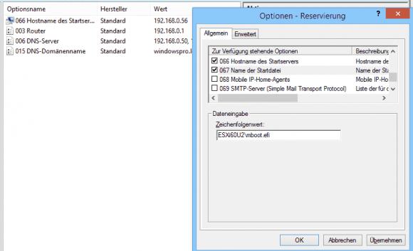 In einer DHCP-Reservierung teilt man dem Client mit, wo er sein Boot-Image laden kann.