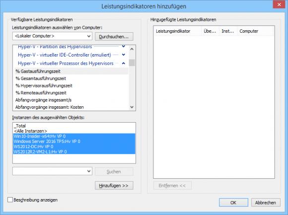 Auswahl der Indikatoren in Perfmon für die genutzte Rechenleistung von VMs.