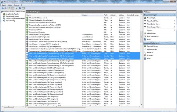 Die Firewall-Regel für eingehende Ping-Anforderungen subsumiert Microsoft unter jenen für die Datei- und Druckerfreigabe.