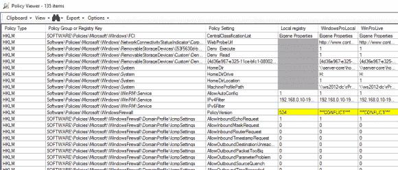 Gelbe Markierungen verweisen auf Konflikte, graue auf Abweichungen der lokalen Registry.
