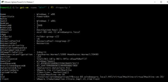 Die grundlegenden Eigenschaften von VMs erhält man mit Get-VM