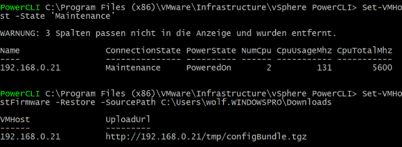 Der Restore einer ESXi-Konfiguration mit PowerCLI erfordert, dass der Host explizit in den Wartungsmodus geschickt wird.