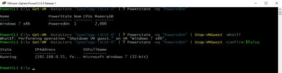 VM mit Get-VM ermitteln und mit Stop-VMGuest herunterfahren.