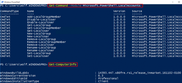 Neue Cmdlets in PowerShell 5.1