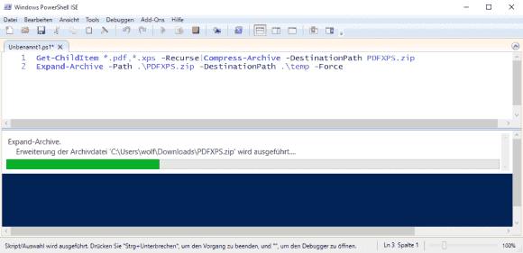 Keines der beiden Cmdlets gibt Auskunft darüber, welche Dateien es gerade verarbeitet.