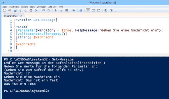 functions fordern den Wert für fehlende Parameter interaktiv an. Der Hilfetext muss extra abgerufen werden.