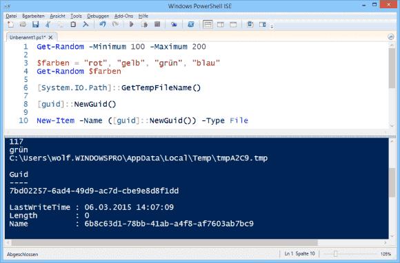 Erzeugen von Zufallszahlen, temporären Dateinamen und GUIDs mit PowerShell.