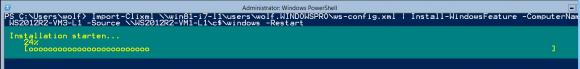 Installation von Rollen und Features auf dem Remote-Server mit Install-WindowsFeature.