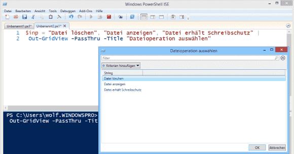 Das Cmdlet Out-GridView lässt sich für ein einfaches Menüsystem einsetzen.