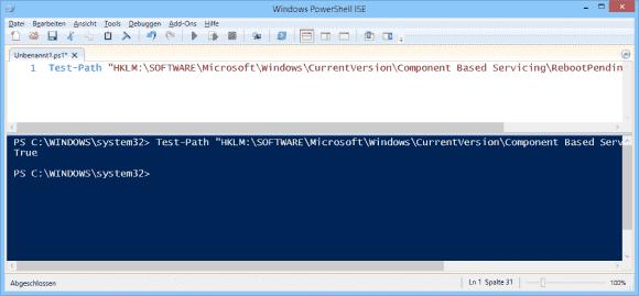 Die einfachste Art, um einen fälligen Reboot zu ermitteln, nutzt Test-Path.