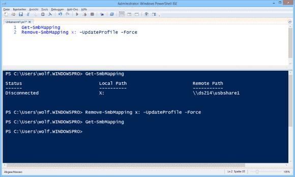 Zuordnungen von Netzfreigaben zu Laufwerken anzeigen und entfernen mit Remove-SmbShare