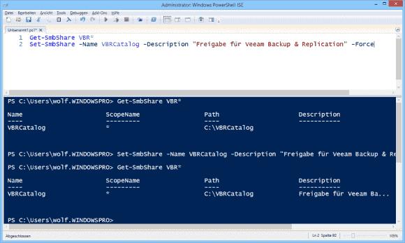 Freigaben auf dem lokalen Rechner anzeigen und Beschreibung mit Set-SmbShare ändern.