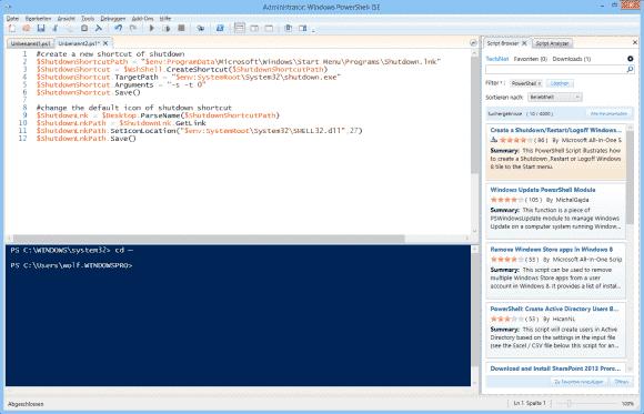 Der Script-Browser klinkt sich in der PowerShell_ISE und vereinfacht den Import von Scripts aus der TechNet Gallery.