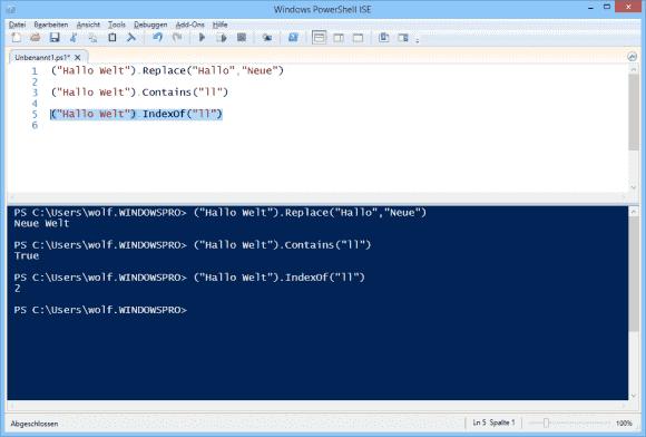 Die Replace-Methode akzeptiert im Gegensatz zum gleichnamigen Operator keine RegEx. Das Gleiche gilt für Contains vs. -match.