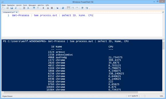 Am Bildschirm zeigt sich nur der gefilterte Output, nachdem alle Informationen in die Datei geschrieben wurden.