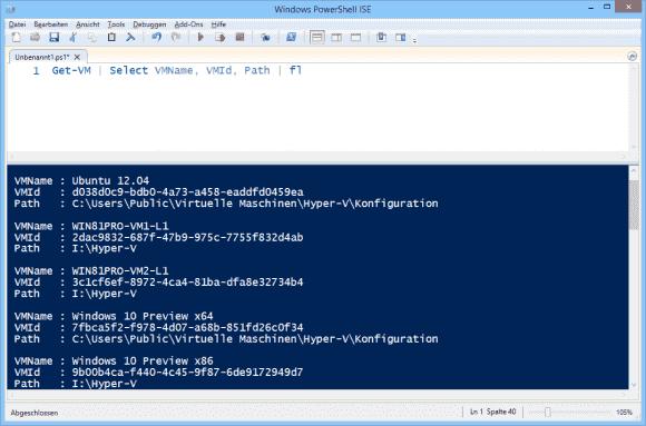 Mit Hilfe von Get-VM kann man sich die Namen zu allen IDs anzeigen lassen.