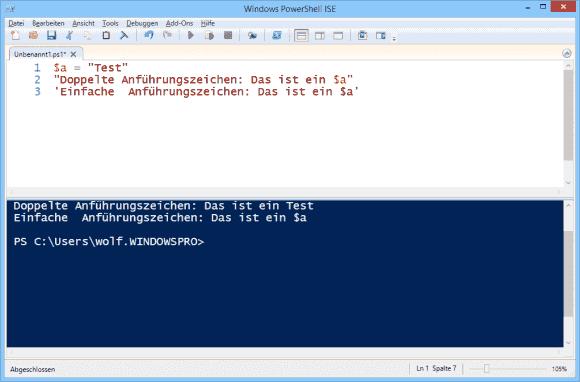 PowerShell expandiert Variablen in Strings, wenn diese in doppelten Anführungszeichen stehen.