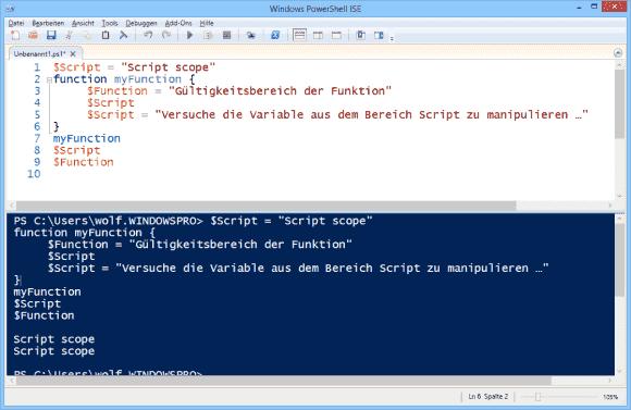 Änderungsversuche an Variablen aus dem Script-Bereich innerhalb einer Funktion bleiben wirkungslos.
