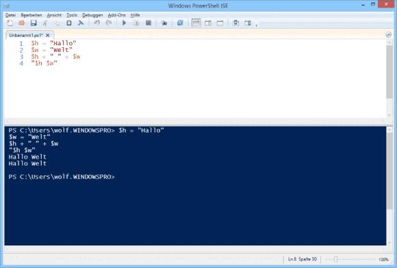 Strings lassen sich in PowerShell verketten, ohne dass man dafür eine concat-Funktion benötigt.