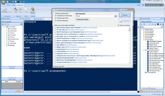 PowerShell Plus bietet eine integrierte Suchfunktion, um Scripts auf Community-Sites zu finden und in den Editor zu laden.