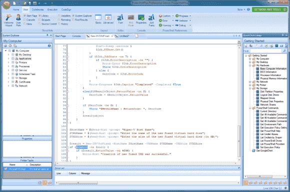 Der Editor von PowerShell Plus bietet alle Komfortfunktionen einer modernen IDE, wie Syntax Highlighting oder Auto-Completion.