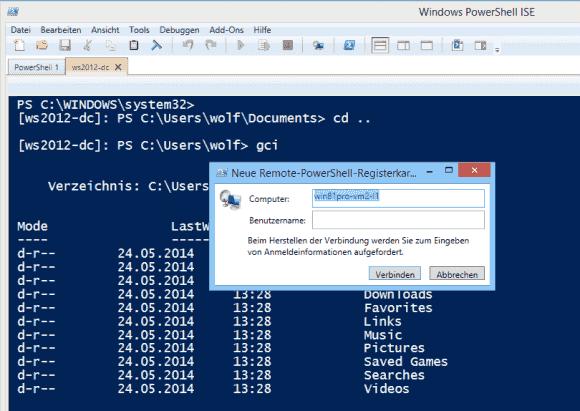 In der PowerShell_ISE fällt es leicht, eine neue Remote-Session zu starten.
