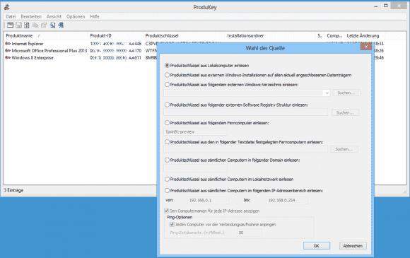 Nirsoft ProduKey kann Lizenzschlüssel auch remote auslesen, wenn die PCs entsprechend konfiguriert sind.