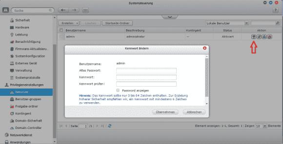 Das vorgegebene Passwort admin lässt sich in der Systemsteuerung ändern.
