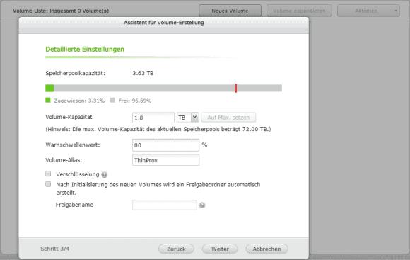 Neue Volumes lassen sich beim Anlegen gleich verschlüsseln und im Netz freigeben.