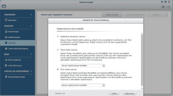 QNAP bietet 3 Typen von Volumes, wobei die beiden dynamischen einen Speicherpool voraussetzen.