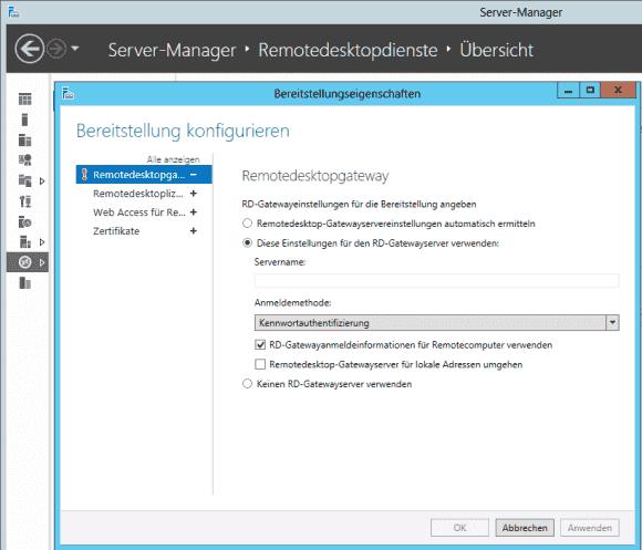 Auch das RD Gateway lässt sich einfach für SSO konfigurieren.