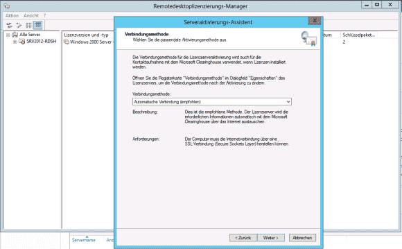 Der Assistent zur Aktivierung des Lizenz-Servers empfiehlt den direkten Kontakt mit Microsofts Clearing House via Internet.