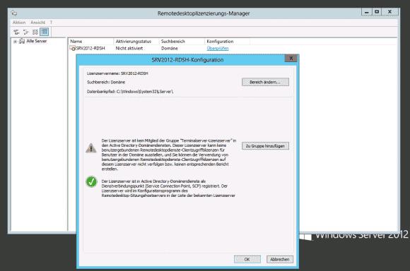 Der RD-Lizenzierungsmanager aktiviert den Lizenz-Server und nimmt ihn zudem in die AD-Gruppe Terminalserver-Lizenzserver auf.